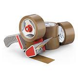 Kit 36 rollos cinta adhesiva polipropileno económica RAJA® + Dispensador de plástico