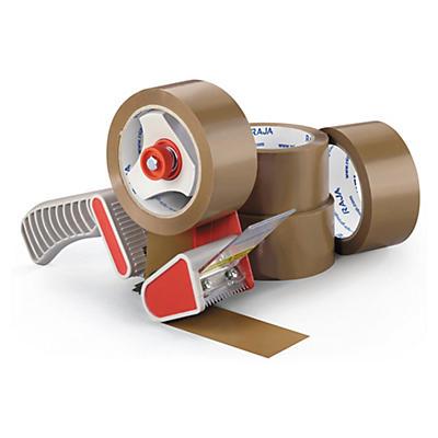 Kit 36 rollos cinta adhesiva polipropileno económica RAJATAPE + precintadora de plástico