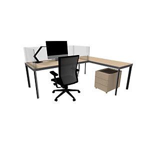 Kit 4 pannelli protettivi divisori in plexiglass per scrivania 160 cm, Trasparente