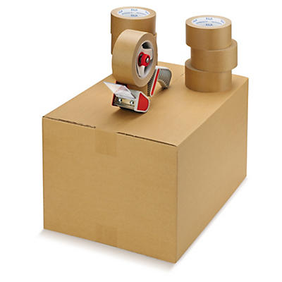 Kit 6 o 36 rollos de cinta de papel adhesivo + precintadora