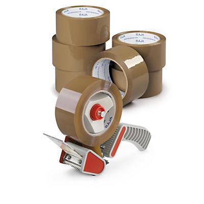 Kit 6 rollos de cinta adhesiva polipropileno silencioso RAJA® + Dispensador