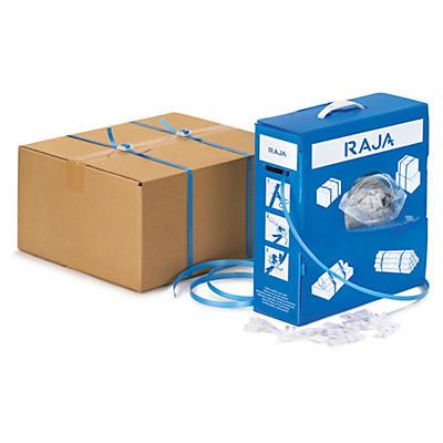 Kit de cintagem de polipropileno em caixa distribuidora + grampos de plástico RAJA