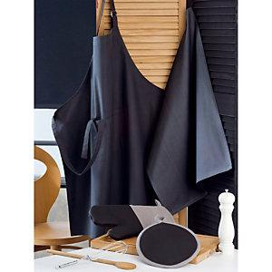 Kit office cuisine  tablier - torchon - gant - manique  coloris caviar