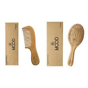 Kit Pettine in legno di pero + Spazzola ovale in legno di bamboo Mood