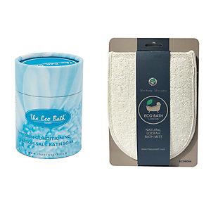 Kit Sale di Epsom Tonificante, 250 g + Guantone da bagno in Luffa naturale Eco Bath
