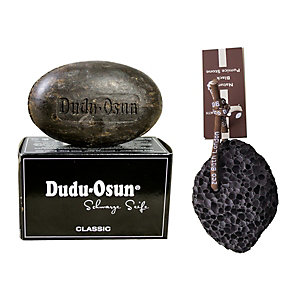 Kit Sapone nero Africano Dudu-Osun + Pietra pomice lavica nera con cordino