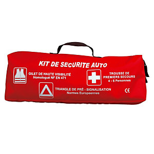 Kit de sécurité auto Esculape (triangle de pré-signalisation + gilet de signalisation + couverture de survie + gants + lampe frontale), Esculape
