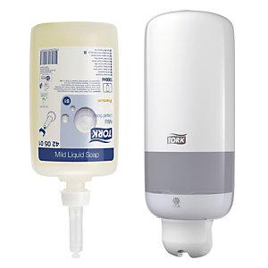 Kit Tork S1, lot de 6 cartouches de savon liquide 1 L + EN CADEAU le distributeur