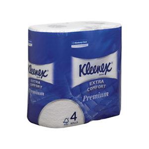 Kleenex® Premium Rollo de papel higiénico estándar, 4 capas, 160 hojas, 98mm, blanco