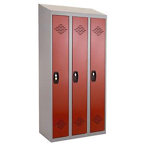 Kleerkast uit één stuk Confort schone industrie 3 vakken, hellend dak, grijs / rood