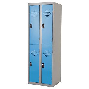 Kleerkast uit één stuk multi vakken 2 kolommen 2 vakken grijs / blauw breedte 400 mm