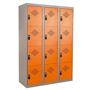 Kleerkast uit één stuk multi vakken 3 kolommen 4 vakken grijs / oranje