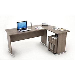 Kompact Set scrivania, allungo e cassettiera, 170 x 120 x 72 cm, Frassino