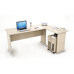 Kompact Set scrivania, allungo e cassettiera, 170 x 120 x 72 cm, Rovere