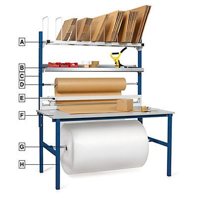 Komplett packbord - Pulverlackerad, blåstålkonstruktion med grå hyllor