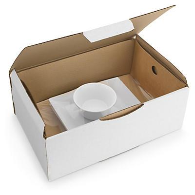 Korrvu® Boîte carton blanche avec calage film##Fixierverpackungen Korrvu®, weiss