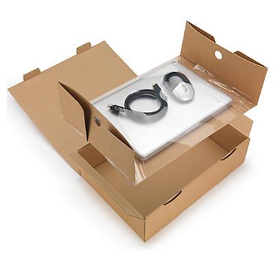 Boîte carton brune avec calage film Korrvu®##Korrvu® Fixierverpackung