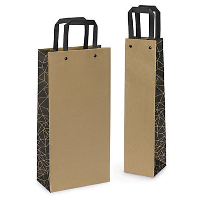 Kraft bottle gift bags with side design