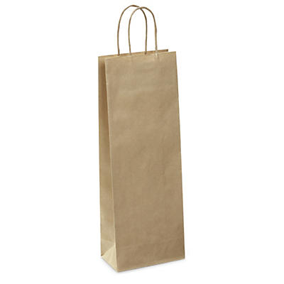 Kraft paper bottle gift bags with twisted handles