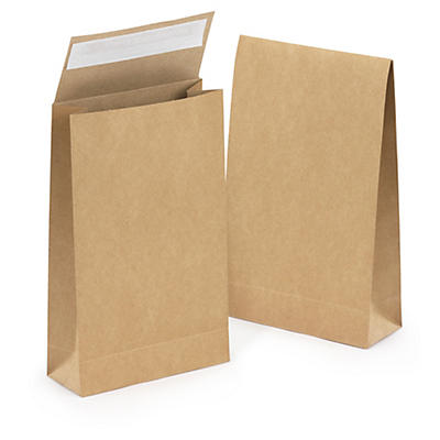 Kraft paper gift bag with adhesive strip