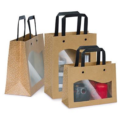 Kraft paper gift bags with windows and black handles