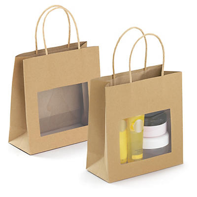 Kraft paper gift bags with windows