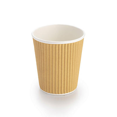 Kraft Ripple Ribbed Paper Cups – Pack of 500