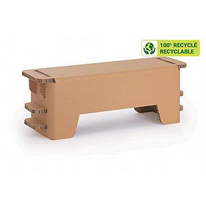 KRAFTDESIGN Banc ou table basse L. 113,8 cm en carton alvéolaire - Kraft naturel