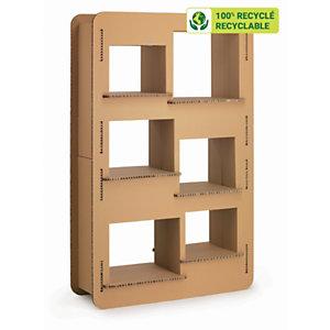 KRAFTDESIGN BD-thèque 6 cases H. 190 cm en carton alvéolaire - Kraft naturel