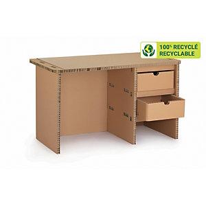 KRAFTDESIGN Bureau droit L.120 x P.70 cm 2 tiroirs en carton alvéolaire - Kraft naturel