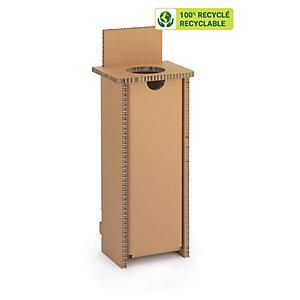 KRAFTDESIGN Corbeille de tri H.100 cm  1 compartiment en carton alvéolaire - Kraft naturel