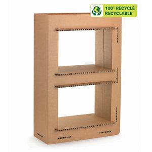 KRAFTDESIGN Etagère 2 cases H. 91,5 cm en carton alvéolaire - Kraft naturel