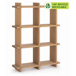 KRAFTDESIGN Etagère 6 cases à croisillon H. 147,4 cm en carton alvéolaire - Kraft naturel