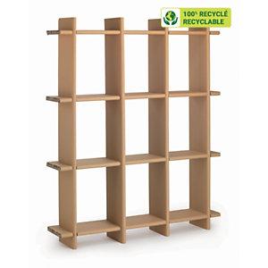 KRAFTDESIGN Etagère 9 cases à croisillon H. 180 cm en carton alvéolaire - Kraft naturel