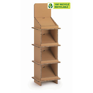 KRAFTDESIGN Présentoir de documents 4 cases H. 144 cm en carton alvéolaire - Kraft naturel