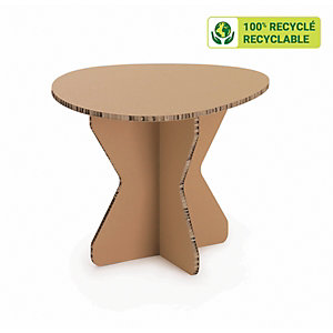 KRAFTDESIGN Table basse style scandinave diam.65 x H.51 cm en carton alvéolaire - Kraft naturel