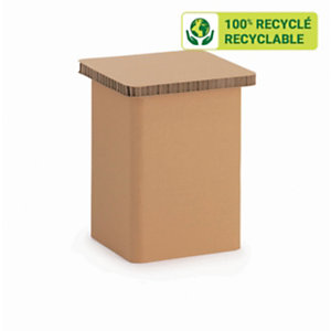 KRAFTDESIGN Tabouret bas H. 41 cm en carton alvéolaire - Kraft naturel