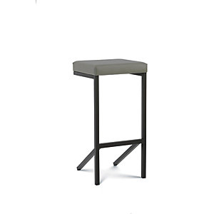 Kubik Sgabello impilabile, Ecopelle, Struttura nera, Sedile grigio