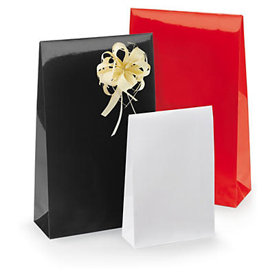 Pochette pelliculée avec fermeture adhésive##Lackpapier-Tüten mit Haftklebeverschluss
