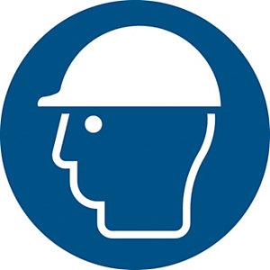"""Lámina autoadhesiva de señal de obligación """"Uso obligatorio de casco"""" 200 (Ø) mm azul"""