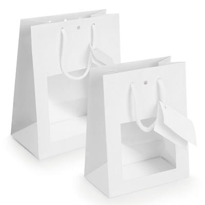 Laminated paper gift bags with a window