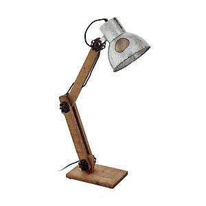 Lampada da tavolo Frizington, struttura legno, diffusore Zincato