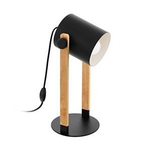 Lampada da tavolo Hornwood, Nero/Legno