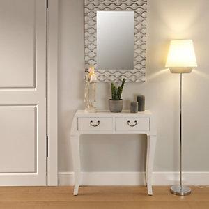 Lámpara de pie Rondo, pantalla blanca, 30 x 148 cm.