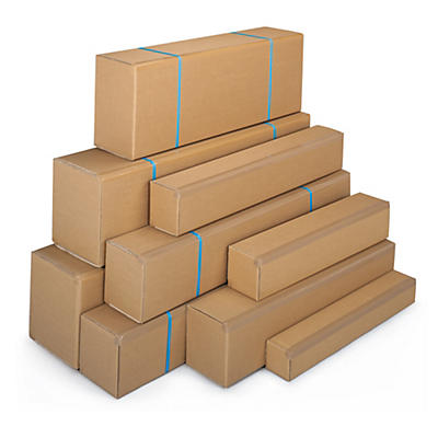 Caisse carton brune ou blanche simple cannelure à grande ouverture Teckelbox##Lange Kartons mit Öffnung an der Längsseite, 1-wellig, braun