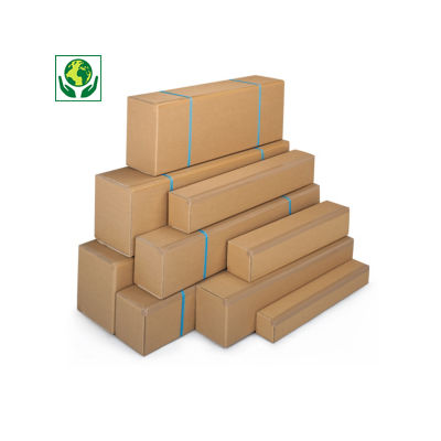 Lange Kartons RAJA mit Öffnung an der Längsseite, 1-wellig, braun
