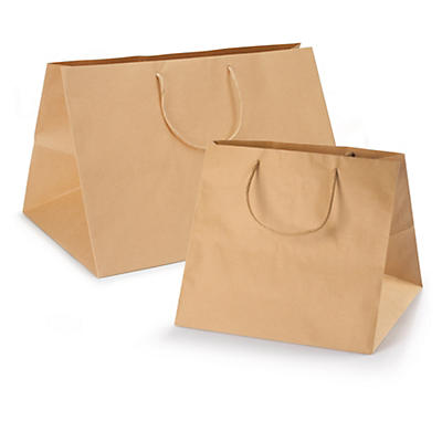 Large brown Kraft paper carrier bags