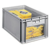 Large stackable plastic storage containers with end window opening