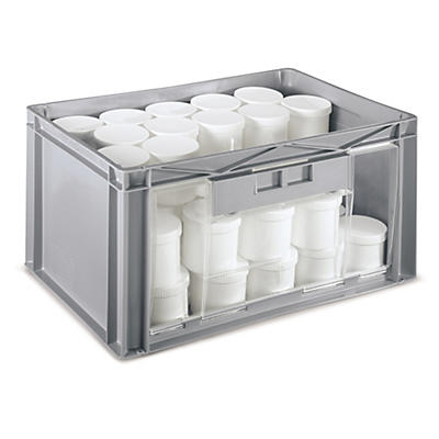 Large stackable plastic storage containers with side window opening