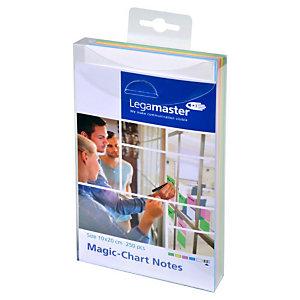 Legamaster Magic-Chart Foglietti elettrostatici riposizionabili, 10 x 20 cm, Colori assortiti (confezione 250 fogli)